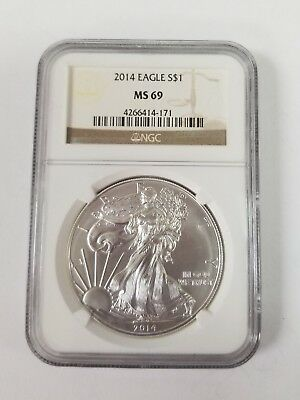 Rare certified .999  AMERICAN EAGLE 2014 1oz nice Silver Bullion Coin NGC MS69
