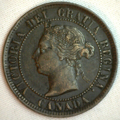 1884 Copper Canadian Large Cent One Cent Coin VF #1