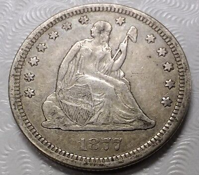 Nice 1877-S US Liberty Seated Silver Quarter Dollar 25c New England Estate Find!
