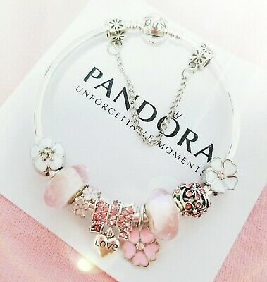 Authentic Pandora Bracelet Silver Bangle with Pink Flower European Charm