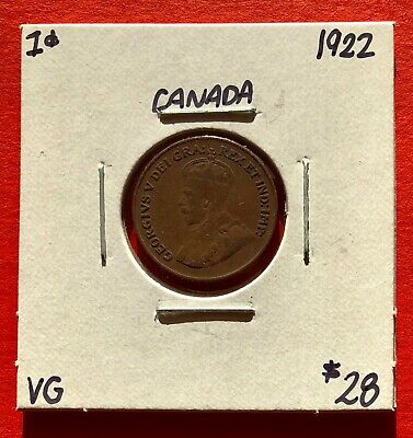 1922 Canada One Cent Penny Coin - $28 VG