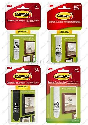 3M Command Strips Picture Hanging Small Medium Large Damage Free x 24 Strips