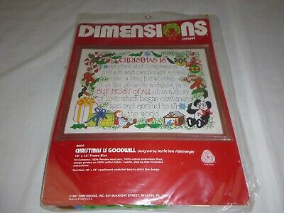 NOS Vtg Dimensions Crewel Embroidery Christmas is Goodwill SEALED #8004