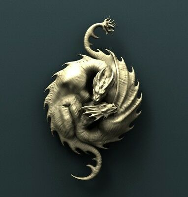 3d STL Model Relief for CNC Router Aspire _ (0225) Dragons