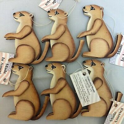 Vintage Rare Wooden Ground Hog Lot of Handcrafted Ornaments - Wilderness Woods