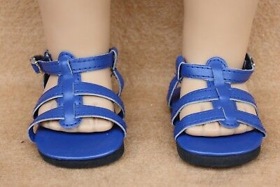 Doll Shoes fitting 18 in American Girl Dolls Dark Blue Strappy Sandals