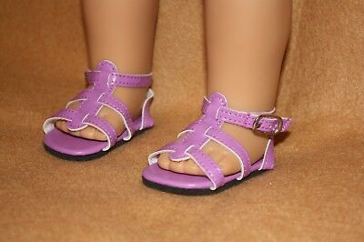 Doll Shoes fitting 18 in American Girl Dolls Dark Lilac Strappy Sandals
