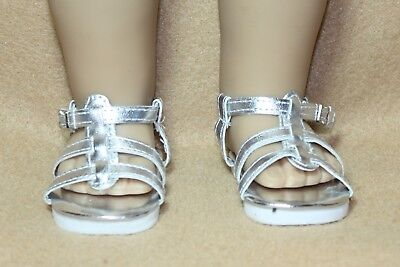 Doll Shoes fitting 18 in American Girl Dolls Silver  Metallic Strappy Sandals