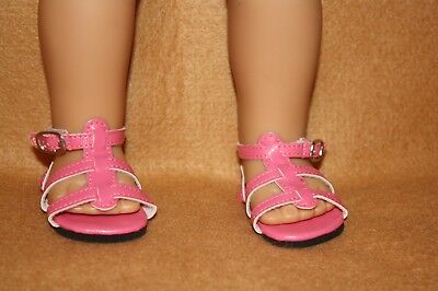 Doll Shoes fitting 18 in American Girl Dolls Pink Strappy Sandals