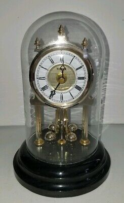 Vintage Timex Anniversary Clock Glass Dome Gold Tone Black Marble/Stone Base