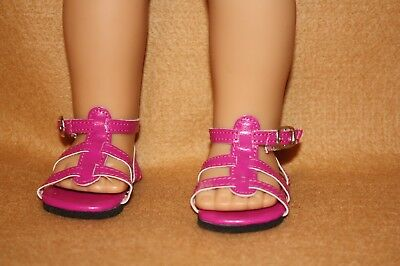 Doll Shoes fitting 18 in American Girl Dolls Magenta Strappy Sandals