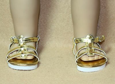 Doll Shoes fitting 18 in American Girl Dolls Gold  Metallic Strappy Sandals