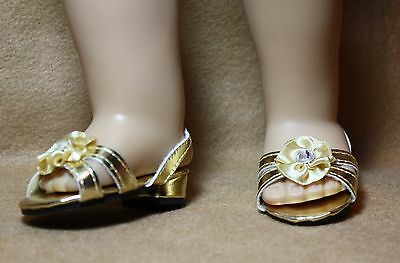 Doll Shoes fitting 18 in American Girl Dolls Gold Metallic Jeweled S/O Sandals