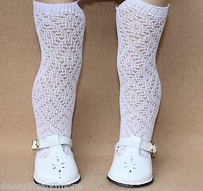 Doll Shoes fitting 18 in American Girl Dolls White T-Strap Shoes & Lattice Socks
