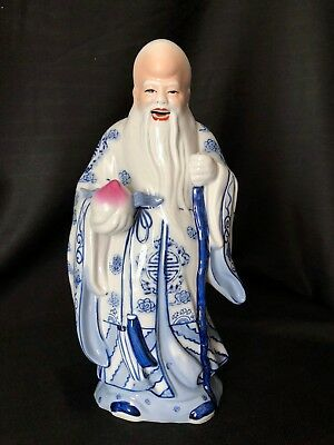 Chinese Decorative Figurine Of Man With Long Beard Holding A Peach Perfect