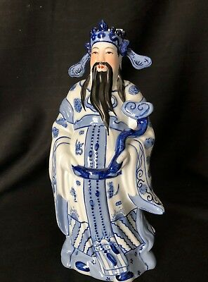 Chinese Decorative Figurine Of Man With Long Black Beard Headdress With Ears
