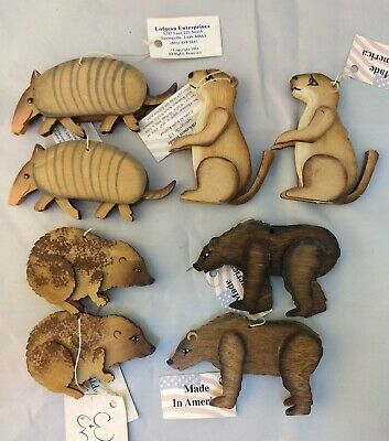 Vintage Rare Armadillo Bear Gopher Handcrafted Ornaments - Wilderness Woods 8 CT
