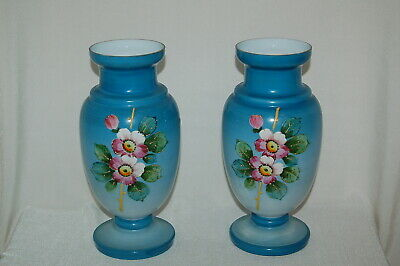 Pair Of Antique Hand Painted Opal Glass Vases 9 3/4 inches