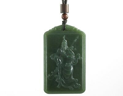 "2.4""China Certified Jewelry Nature Hetian Nephrite Jade Fortune Guangong Pendant"