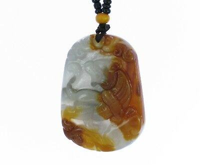 """1.7""""China Certified Nature Yellow Dragon Jade Lucky Tiger and Ruyi Necklace"""