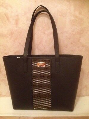 635d1ce905df NWT MICHAEL KORS Microstud Center Stripe Leather Small Travel Tote BLACK  GOLD