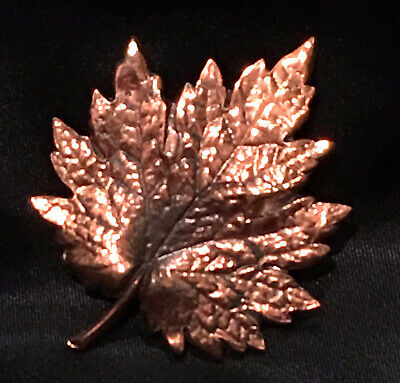 Vtg Leaf Copper Brooch Autumn Large Maple Grape Oak Mid Century Pin Earth Day