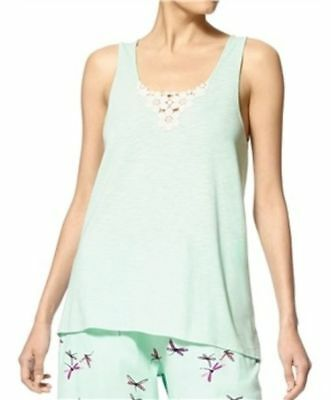 HUE Green Seamless Tank Top Medallion Floral Lace Pajama Top Mist Green Size M