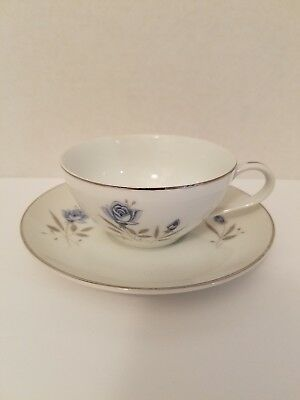 Royal Taunton Blue Rose Tea Cup and Saucer EUC Lovely Flower Design