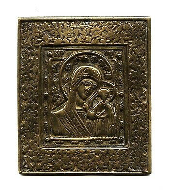 RARE OLD Russian Orthodox Large bronze Icon  ::   MOTHER of GOD of  KAZAN