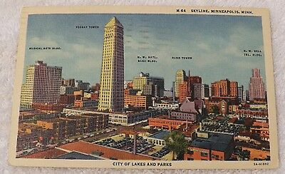 Linen Postcard Minneapolis Minnesota Skyline With Sites Listed Large City T P141