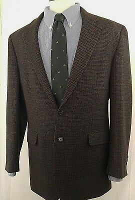 Lauren/Ralph Lauren Mens sz 42L Brown Houndstooth 100% Lambswool Jacket Blazer