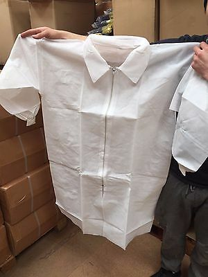 10 x High quality Disposable visitor Lab Coat size L Zip fastener elastic cuffs