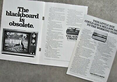 2x SONY U-MATIC Vintage Magazine Page Print Advertisement  VCR VIDEO TAPE PLAYER