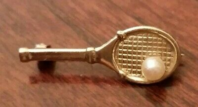 Vtg 14 k Gold Pearl Tennis Racket Ballou Jewelers RI Brooch Antique Pin Signed