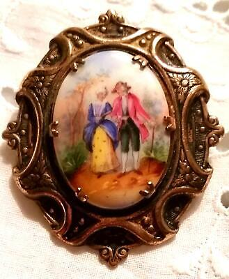 Antique Portrait Brooch Hand Painted Porcelain Cameo Ornate Brass Pin Victorian