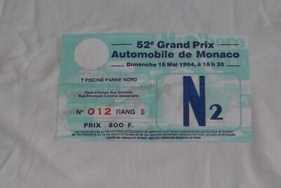 Ticket 1994 Monaco F1 Grand Prix Monte Carlo #Schumacher Brundell Berger Billet