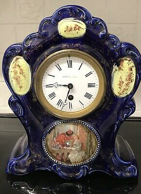 Fattorini & Sons Blue Porcelain Clock   ++1880S++