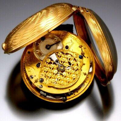 Antique Gold Quarter Hour Repeater Pocket Watch Ca1720S With Toc Hammer Strike
