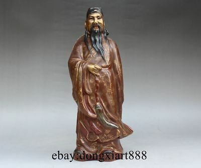 "Chinese Brown Porcelain Pottery Eight Lmmortals Figural ""Lu Dongbin"" God Statue"