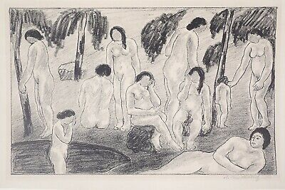 Fine Signed 1927 Abraham Walkowitz Modernist Lithograph Print The Bathers