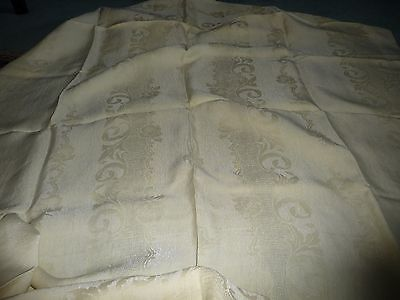 """#71/4  vtg Pale Yellow damask fabric tablecloth  70"""" x 60"""""""