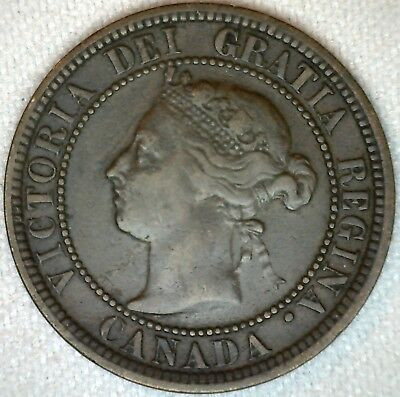 1888 Copper Canadian Canada Large Cent One Cent Coin 1c  Fine K100