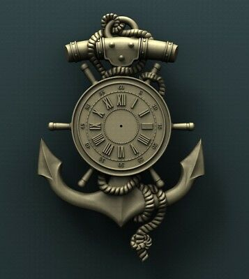 3d STL Model Relief for CNC Router Aspire _ (0248) Anchor Clock