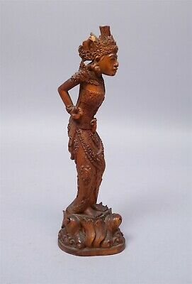 Unusual Antique Highly Detailed Southeast Asian Carved Wooden Figurine of Women