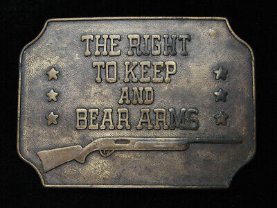 PF17123 VINTAGE 1970s *THE RIGHT TO KEEP & BEAR ARMS* 2ND AMENDMENT BELT BUCKLE