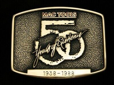 Qi07139 *Nos* Vintage 1988 *Mac Tools 50 Years Of Excellence* Solid Brass Buckle