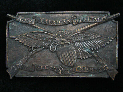 Qf13139 Vintage 1976 **Our American Heritage The Second Amendment** Belt Buckle
