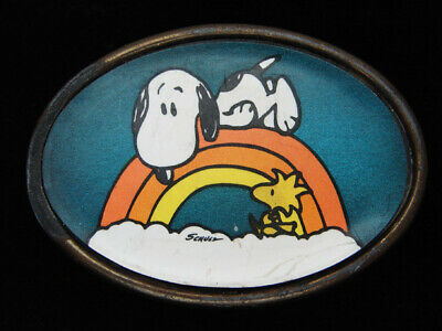 QG25174 VINTAGE 1970s **SNOOPY & WOODSTOCK** PEANUTS ARTWORK BELT BUCKLE