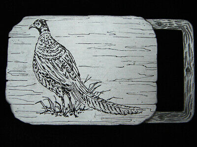 QB13109 VINTAGE 1970s **PHEASANT BIRD** COMMEMORATIVE PEWTER BELT BUCKLE