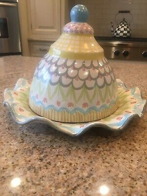 Mackenzie-Childs Pastel Pottery Ceramic Fluted Platter and Dome NWT